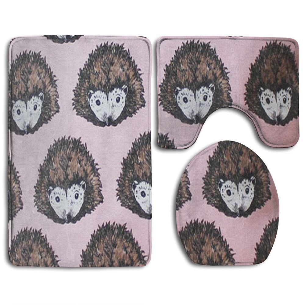 Houde Ankang Shijingshan Pink Hedgehog Bathroom Carpet Rug,Non-Slip 3 Piece Bathroom Mat Set