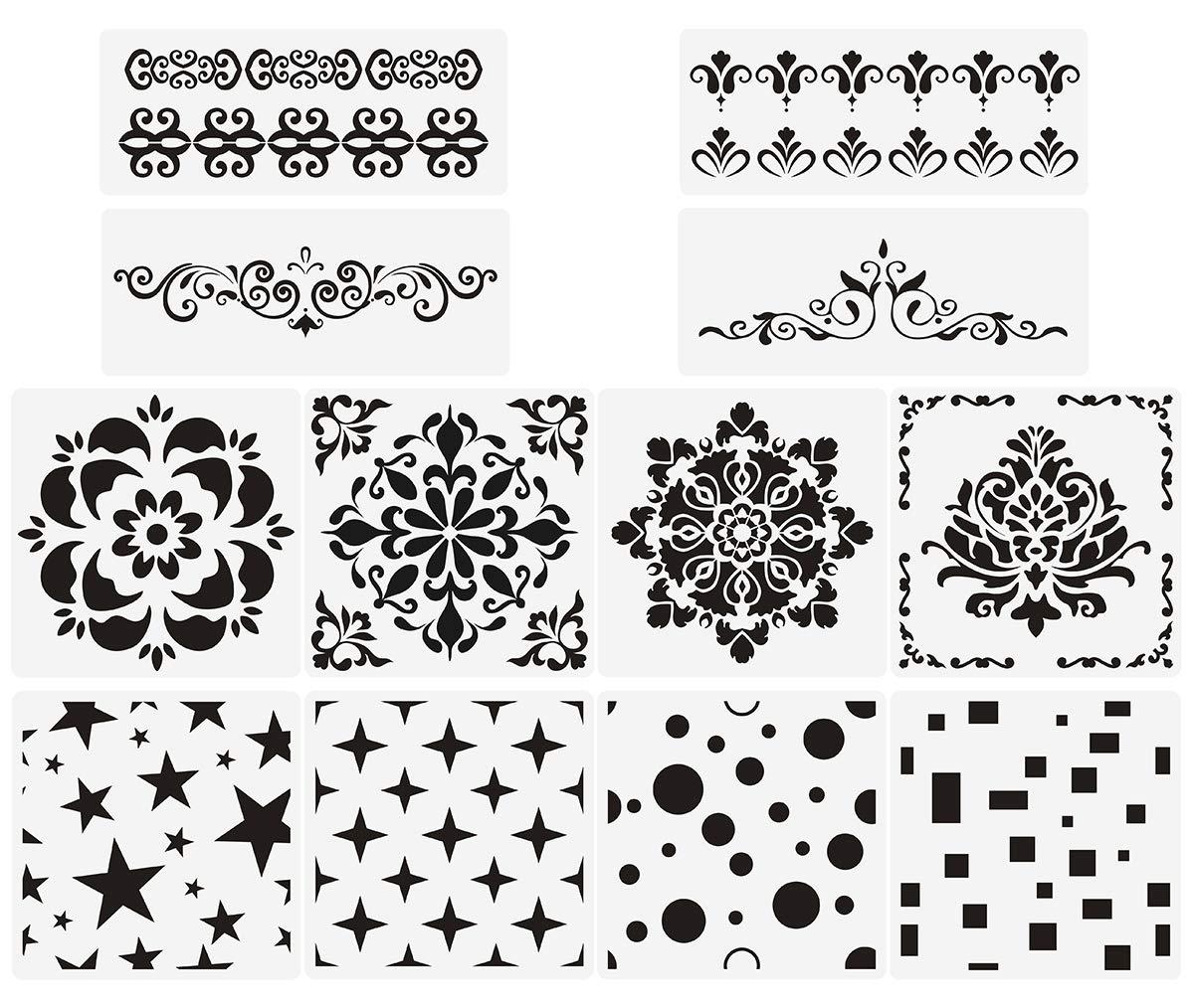 Premium Quality Reusable Stencils Set of 12 Laser Cut Painting Stencil Floor Wall Tile Fabric Wood Stencils White