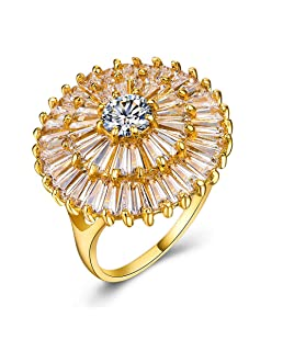 Huitan Brilliant Statement Ring with Bloom of Fireworks Design,Halo Cubic Zirconia Cocktail Party Rings for Women (Yellow, 10)