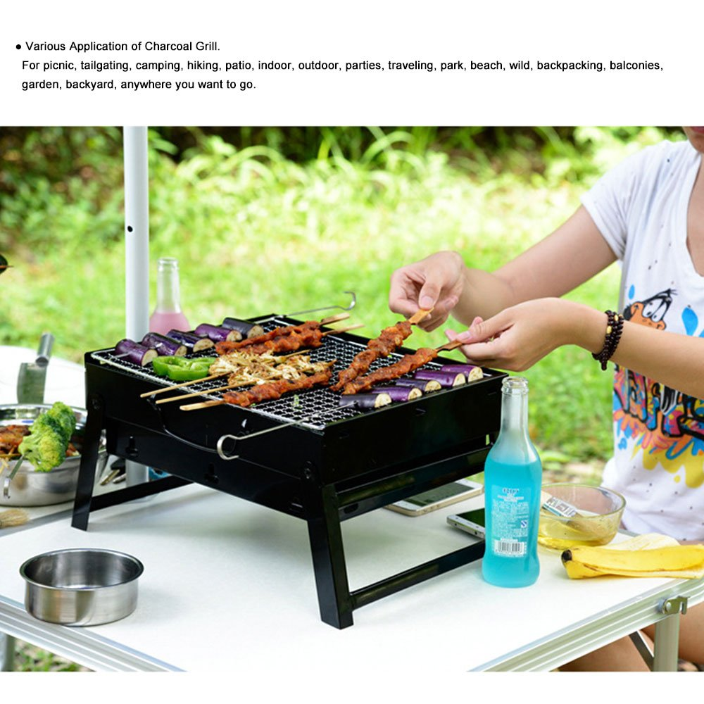 Woby BBQ Charcoal Grill Small Foldable Portable Lightweight Tabletop Barbecue Grill Cooker for Outdoor Cooking Picnics Camping Hiking at Home by Woby (Image #7)