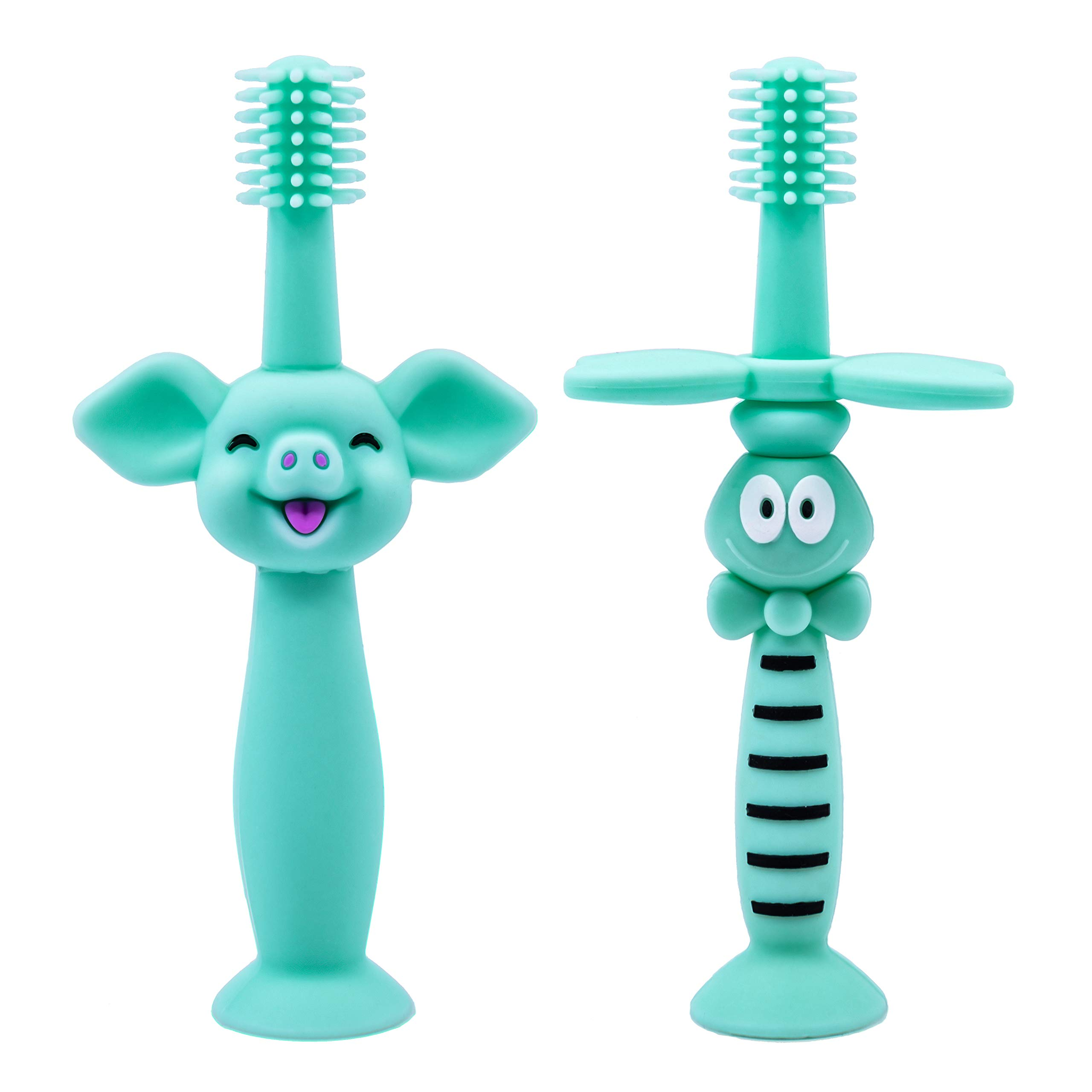 2pack STKYGOOD Baby Toothbrush /& Toddler Toothbrush for 0-2 Years Old with Teething Finger Handle BPA Free Infant Toothbrush Teether Blue//Pink