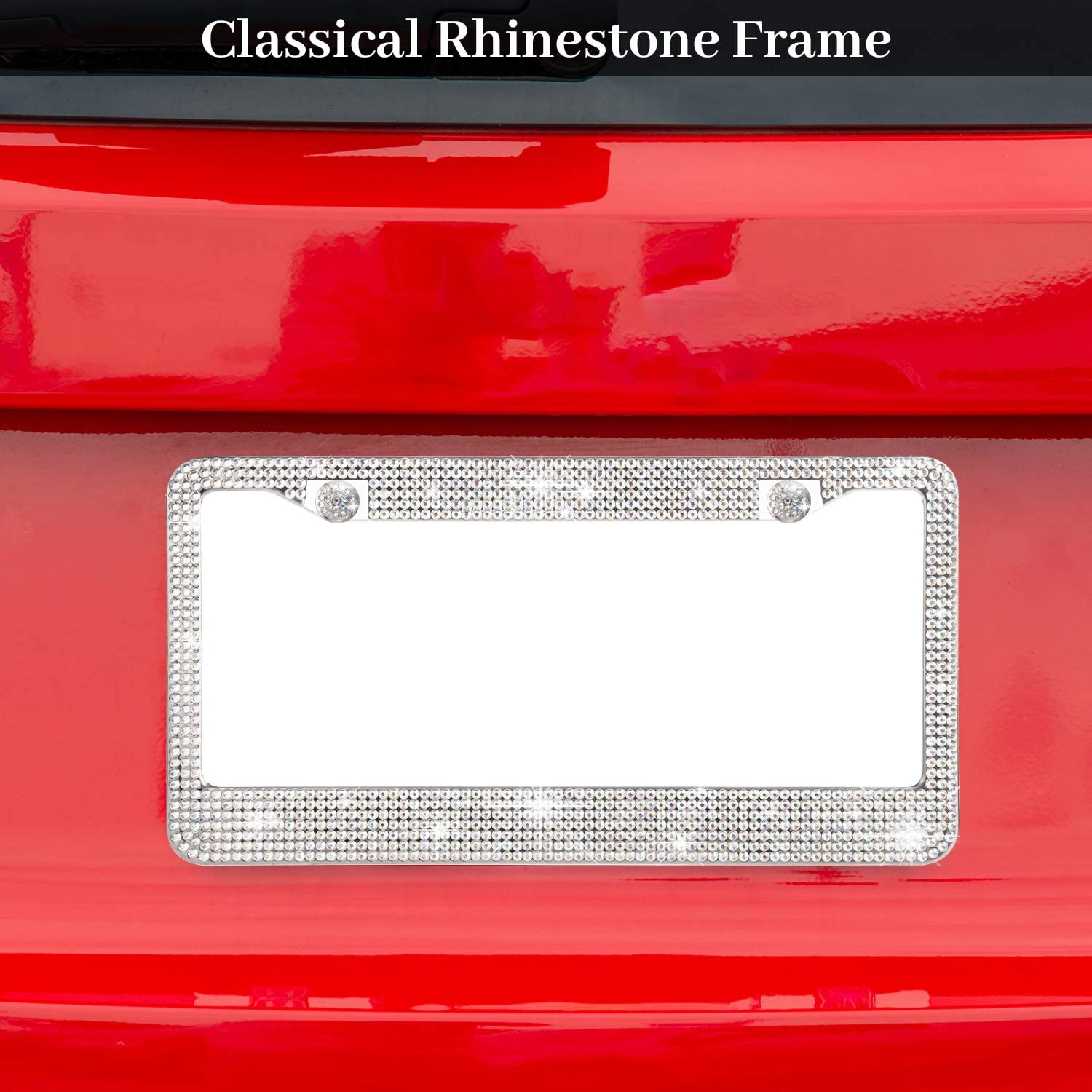 Mieziba License Plate Frame,2 Pack Crystal Shiny Rhinestone Stainless Steel Bling License Plate Frames,Over 1050 pcs 14 Facets SS16 Finest Handcrafted Luxury,Crystal