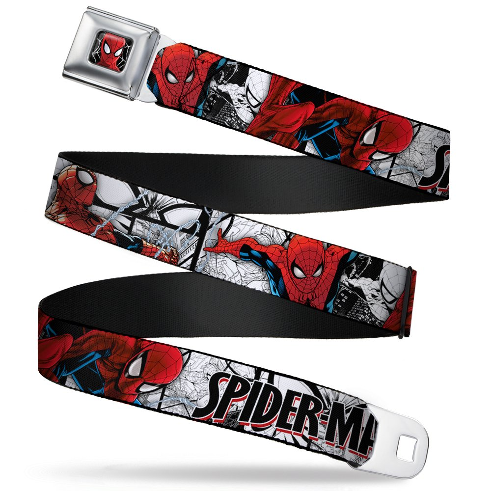 Spider-Man Marvel Comics Superhero Action Poses Seatbelt Belt Buckle Down SPDU-WSPD039-XL