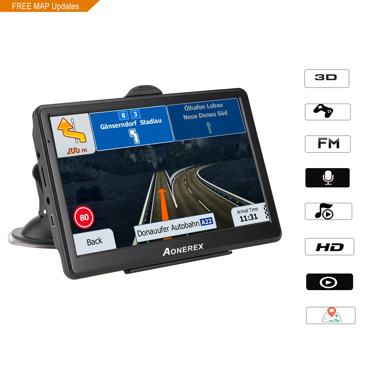 AONEREX, 7-inch 128MB-8GB HD display car satellite navigation system, built-in with Awning- lifetime free update map (black) by Aonerex