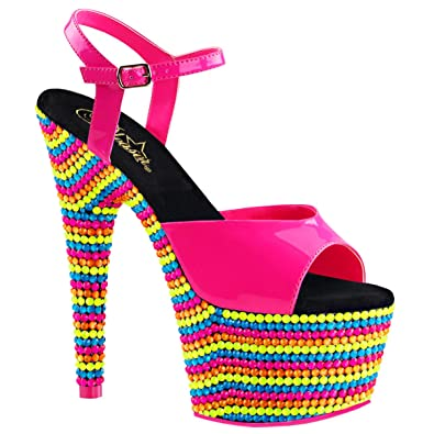 b0a40163a0568 Summitfashions Womens Hot Pink Shoes Platform Sandals Blacklight Reactive  Stones 7 Inch Heels Size  5