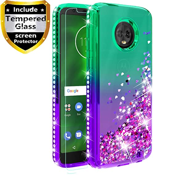quality design bb3d3 292c3 Moto G6 Case with Tempered Glass Screen Protector, Fordesign Girls Women  Shockproof Cute Durable Glitter Liquid Quicksand Diamond Rubber Phone Case  ...