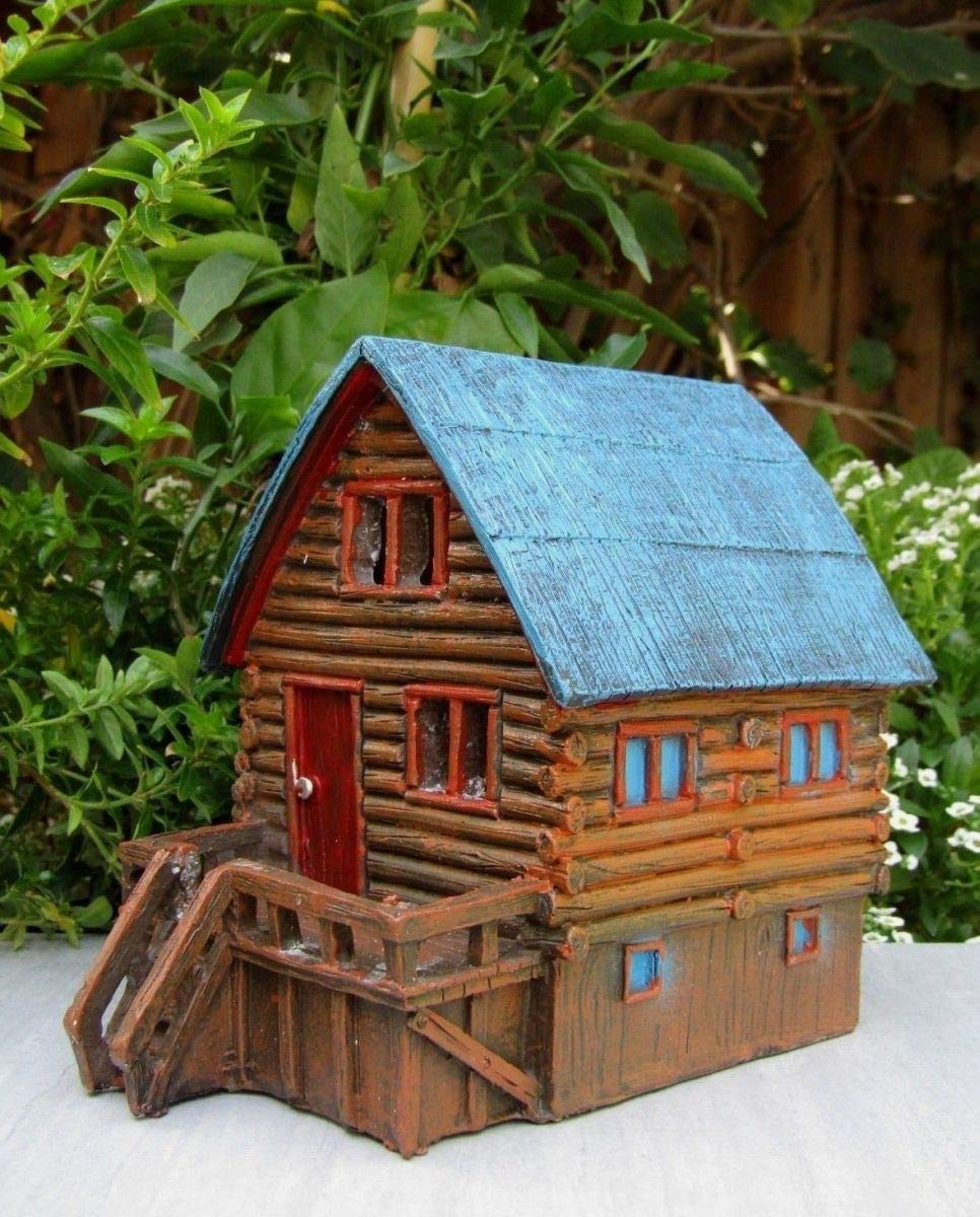 Miniature Fairy Garden House ~ Log Cabin Lake Camping House with LED Light ~ New