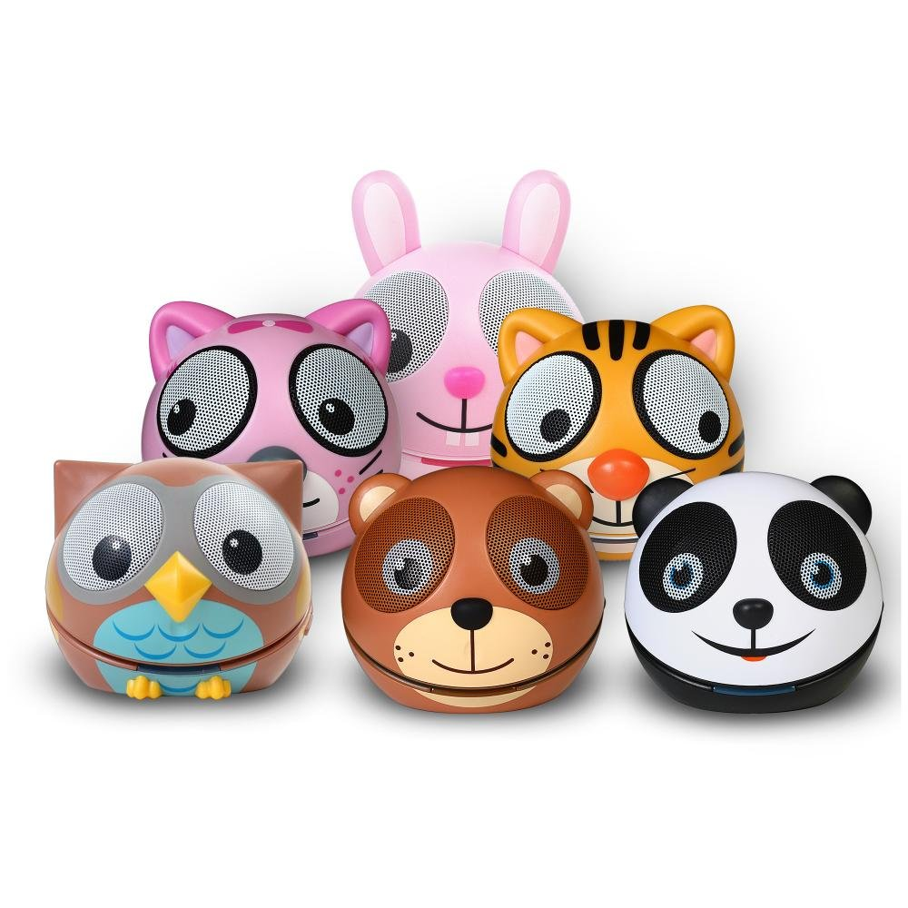 Zoo-Tunes MCSBTFAM Family Compact Portable Bluetooth Stereo Speakers Includes Panda/Owl/Tiger/Bear/Kitten/Rabbit Character Shaped Speakers