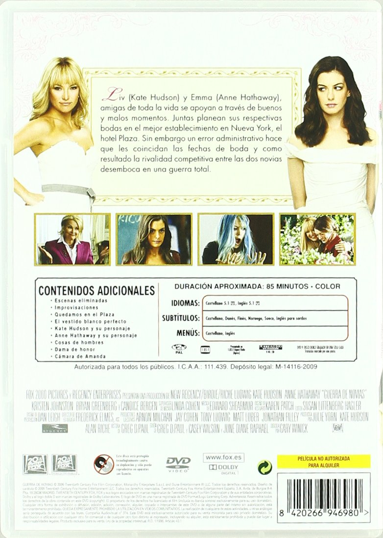 Guerra de novias [DVD]: Amazon.es: Anne Hathaway, Kristen Johnston, Steve Howey, Bryan Greenberg, Candice Bergen, Kate Hudson, Gary Winick: Cine y Series TV