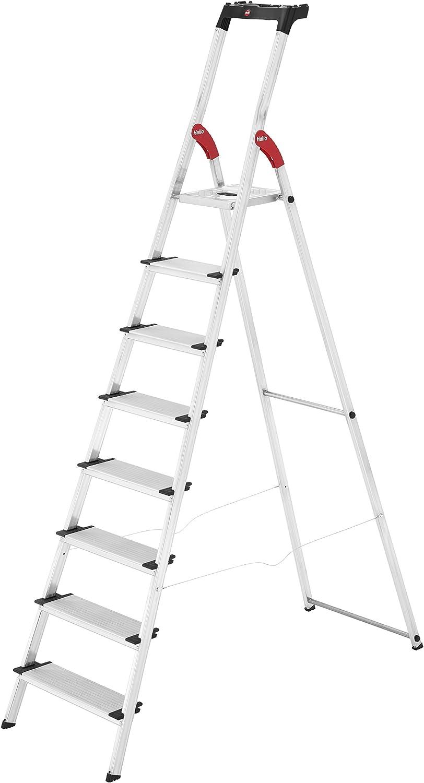 silber 8040-307 made in Germany 3 XXL-Stufen belastbar bis 150 kg Hailo L80 ComfortLine Alu-Sicherheits-Stehleiter