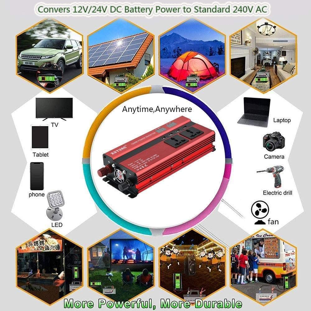 NBQABN Inversor de Corriente Onda Pura 2000W Pico 4000W ...