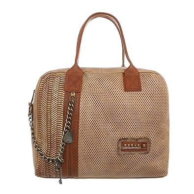 Damen-Tasche Mittelgroße Schultertasche Handtasche Kunstleder Grau TA-9835-77 Ital-Design yFjMEGXWZ