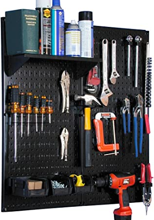 Renewed Wall Control Metal Pegboard Utility Tool Storage Kit with Black Pegboard and Black Accessories