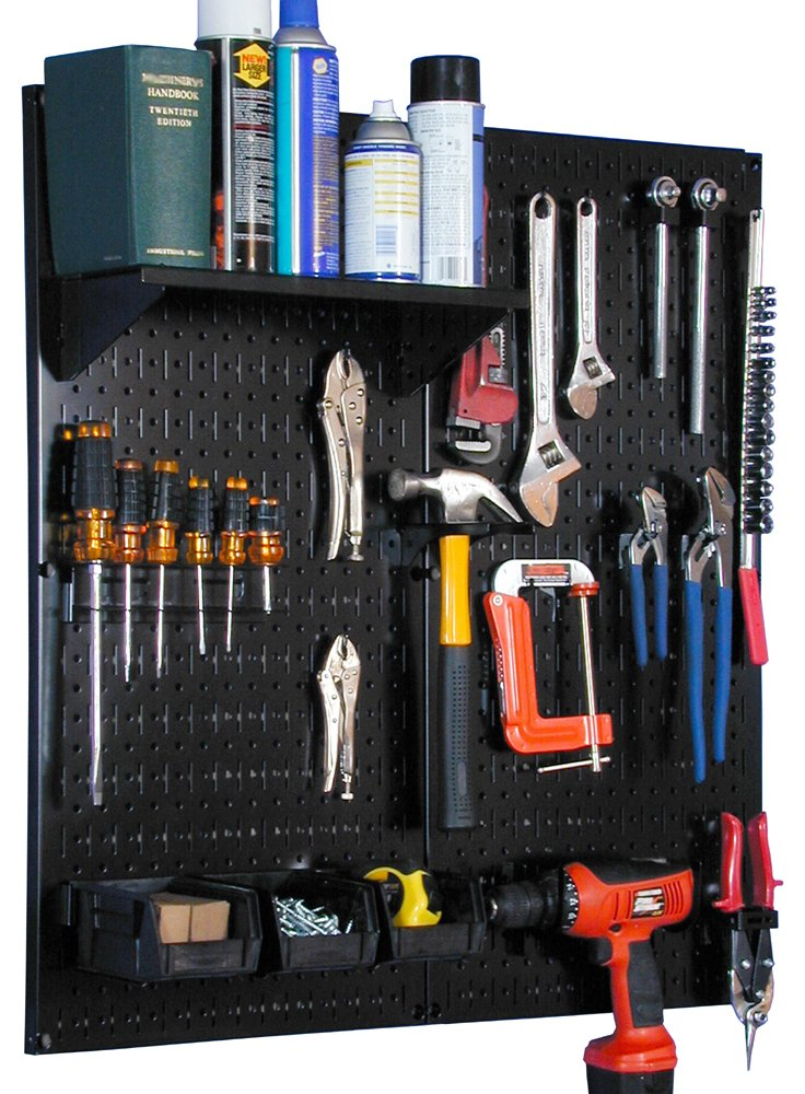 Wall Control 30-WGL-200 BB Metal Pegboard Utility Tool Storage Kit with Black Pegboard and Black Accessories