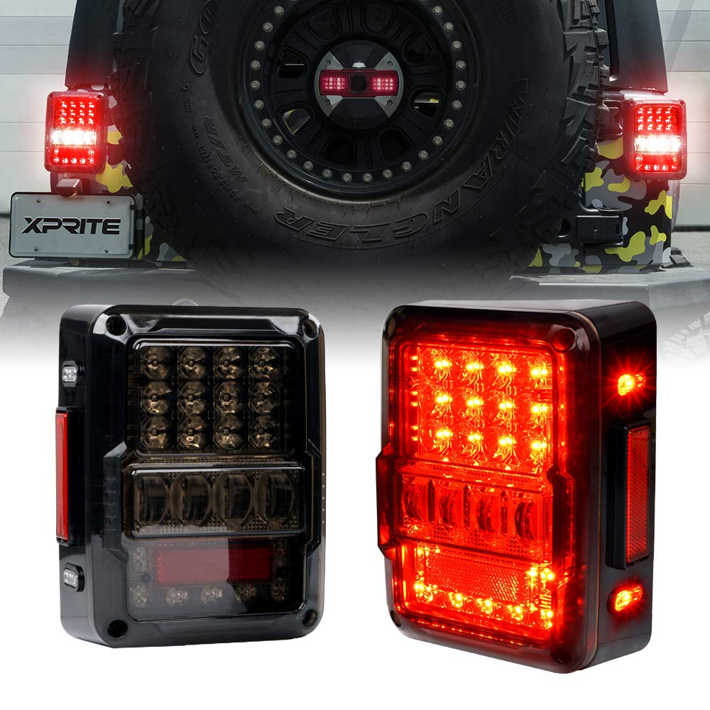 Xprite 4D Smoke Lens LED Tail Lights for Jeep Wrangler JK JKU 2007-2018, Plug & Play, w/ Parking Light, Brake Turn Signal Lamp and Reverse Light, Built-in Resistor, DOT Approved - Pair