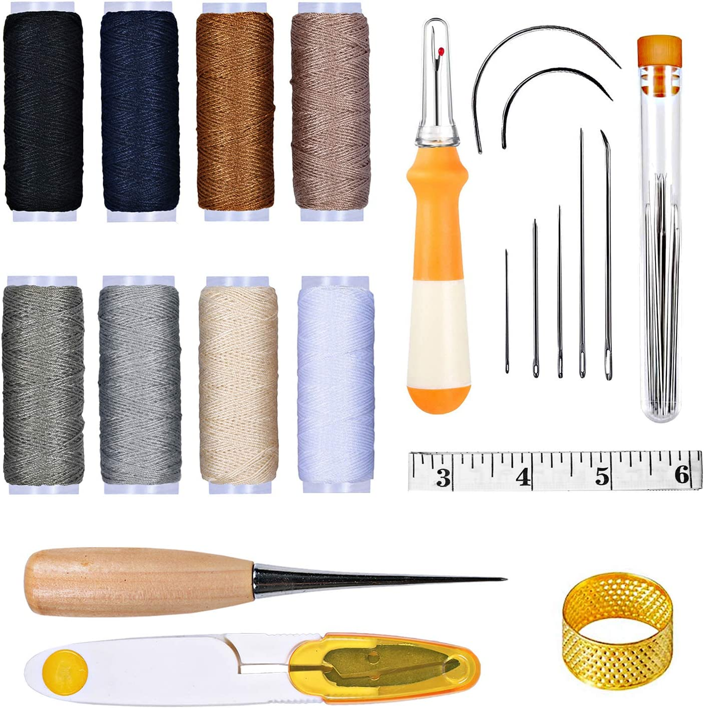 HMMS 30Pcs Upholstery Repair Kit with Sewing Needles Thread Tape Measure Awl Leather Craft Tools for Leather Canvas Repair, Home Hand Sewing Kits