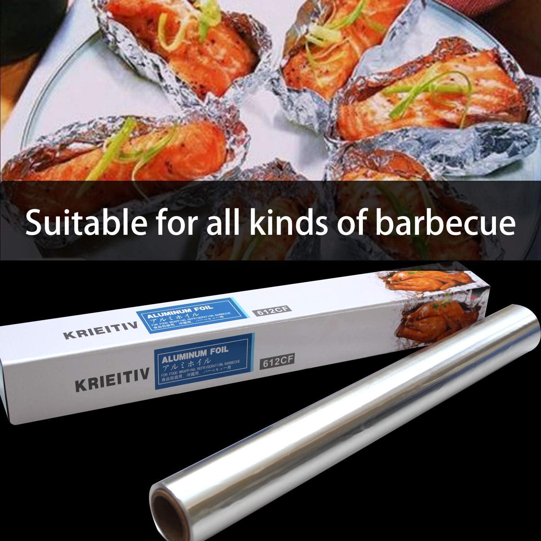 Pure Aluminum Tin Foil Roll for Cooking,Baking and BBQ KRIEITIV Aluminum Foil 1.47 feet Width 164 feet Length 241 Square Feet