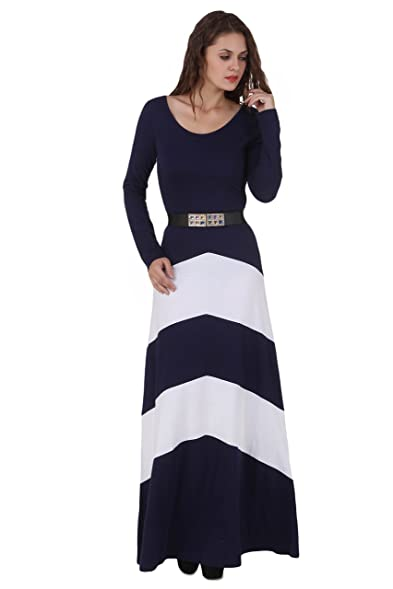 TEXCO NAVY BLUE TRENDY MAXI DRESS WITH BELT: Amazon.in: Clothing ...