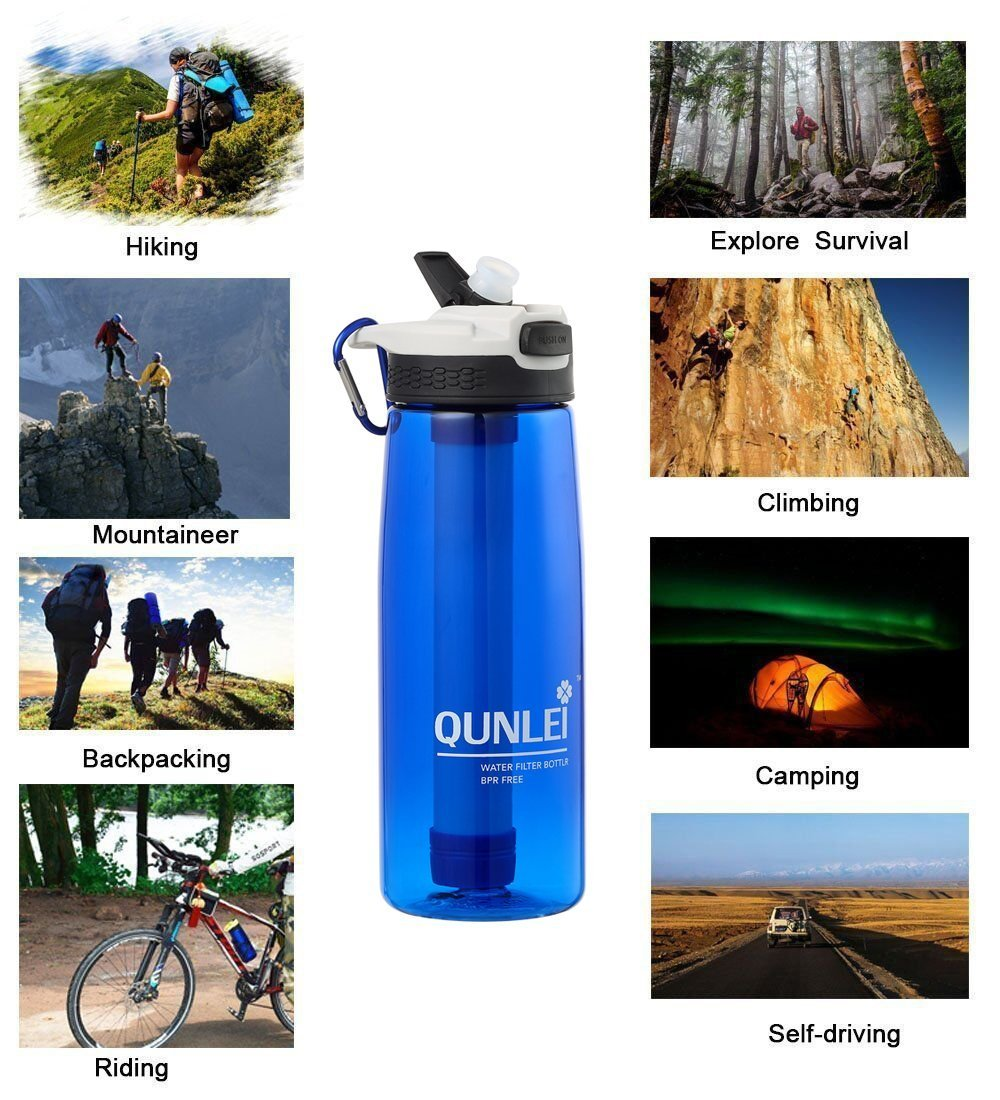 Qunlei Personal Water Filter 2-Stage Integrated Personal Filter Straw for Hiking Camping and Travel Survival Or Emergency Filter BPA Free Water Bottle