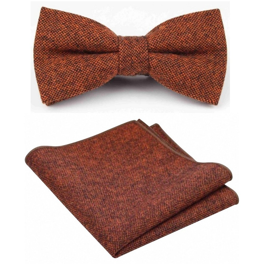 Handmade Light Brown Check Mens Tweed Bow Tie and Pocket Square Set Dickie Bow