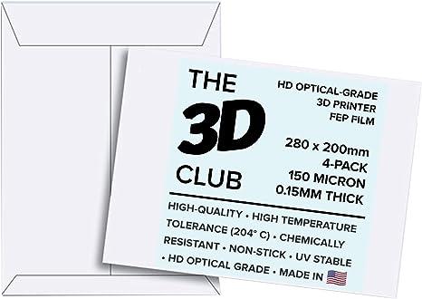 Thick 6 Pack FEP-200-140-127-6 5mil FEP Film for UV 3D Printers 0.127mm