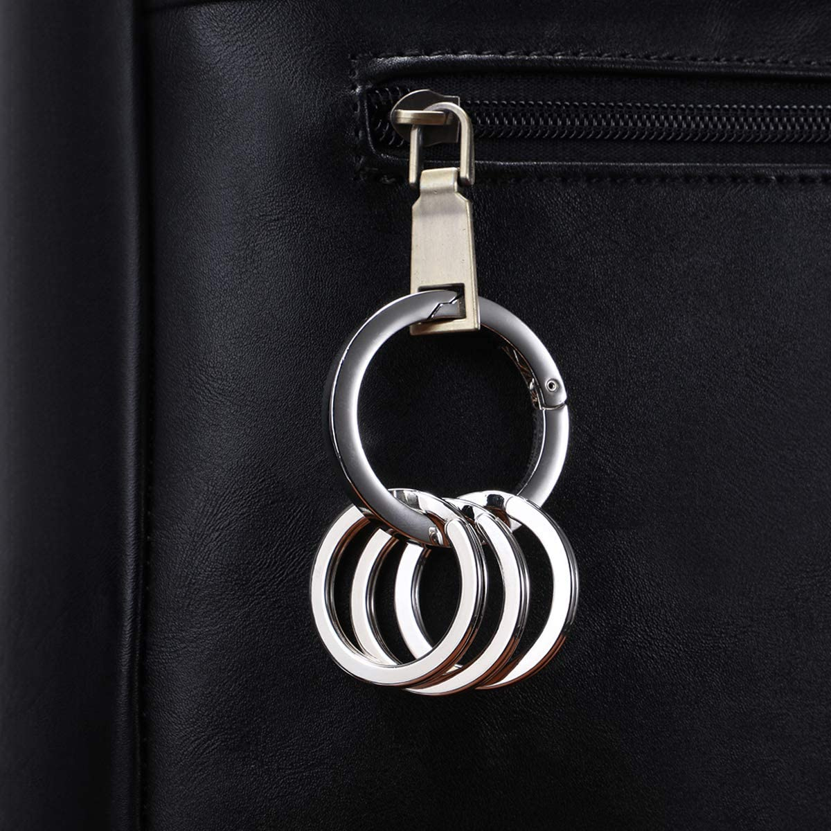 Solid Metal Keychain Clip Universal Size Key Organizer Key Clip Pure Round Circle Design SGODDE Fashion Carabiner Keychain with 3 Matching Key Rings Set Strong