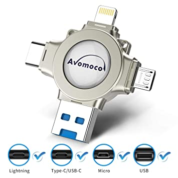 Avomoco USB 3 0 32GB 4 in 1 Flash Drive for iPhone and