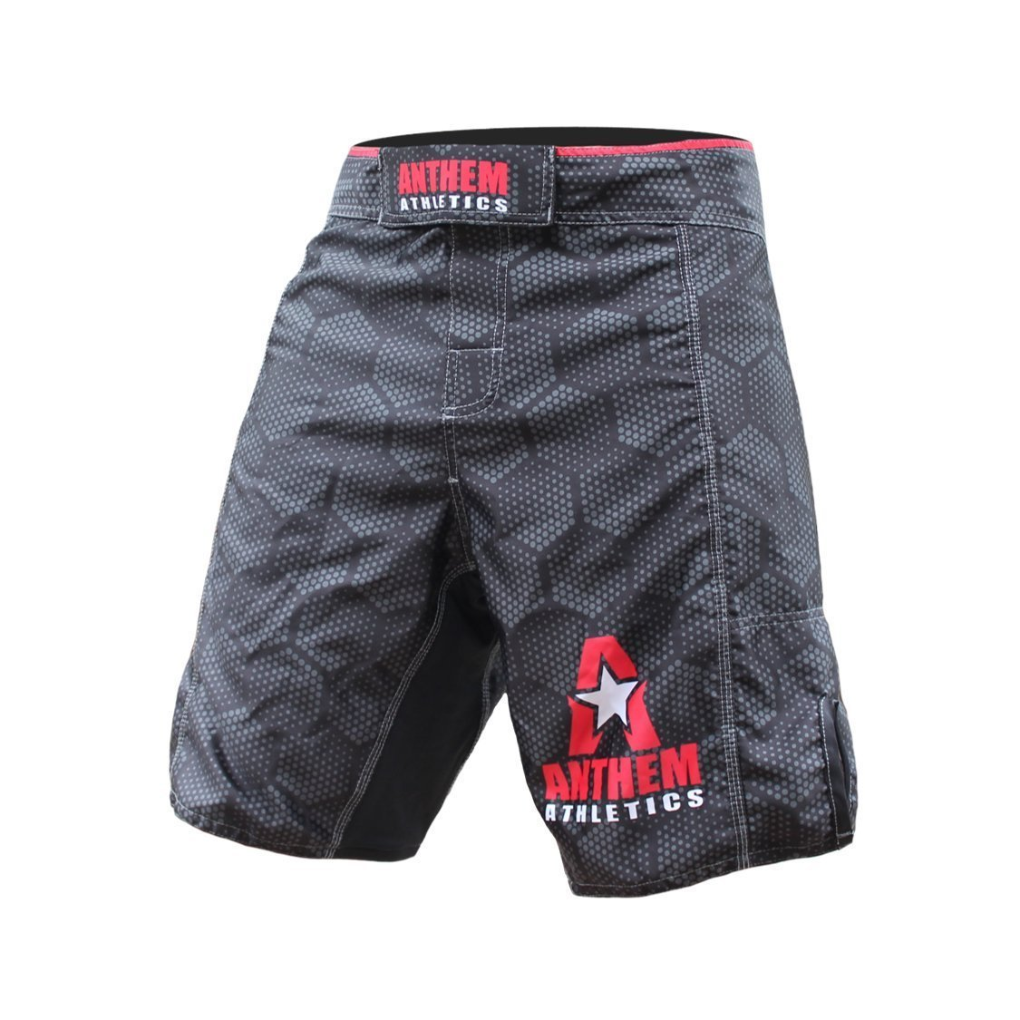 Anthem Athletics RESILIENCE Fight Shorts - Black Hex With Red - 38''