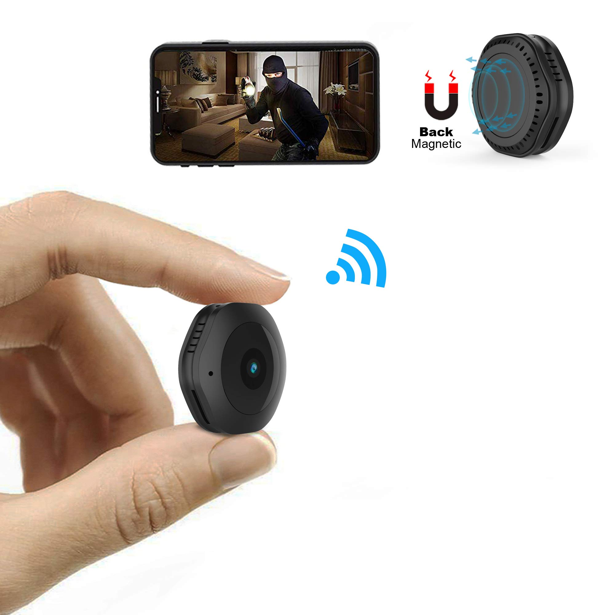 Mini WiFi Camera,MRSGUO Spy Wireless Hidden HD 1080P Portable Home Security Small Nanny Cam with Motion Activated/Night Vision Plus by MRSGUO