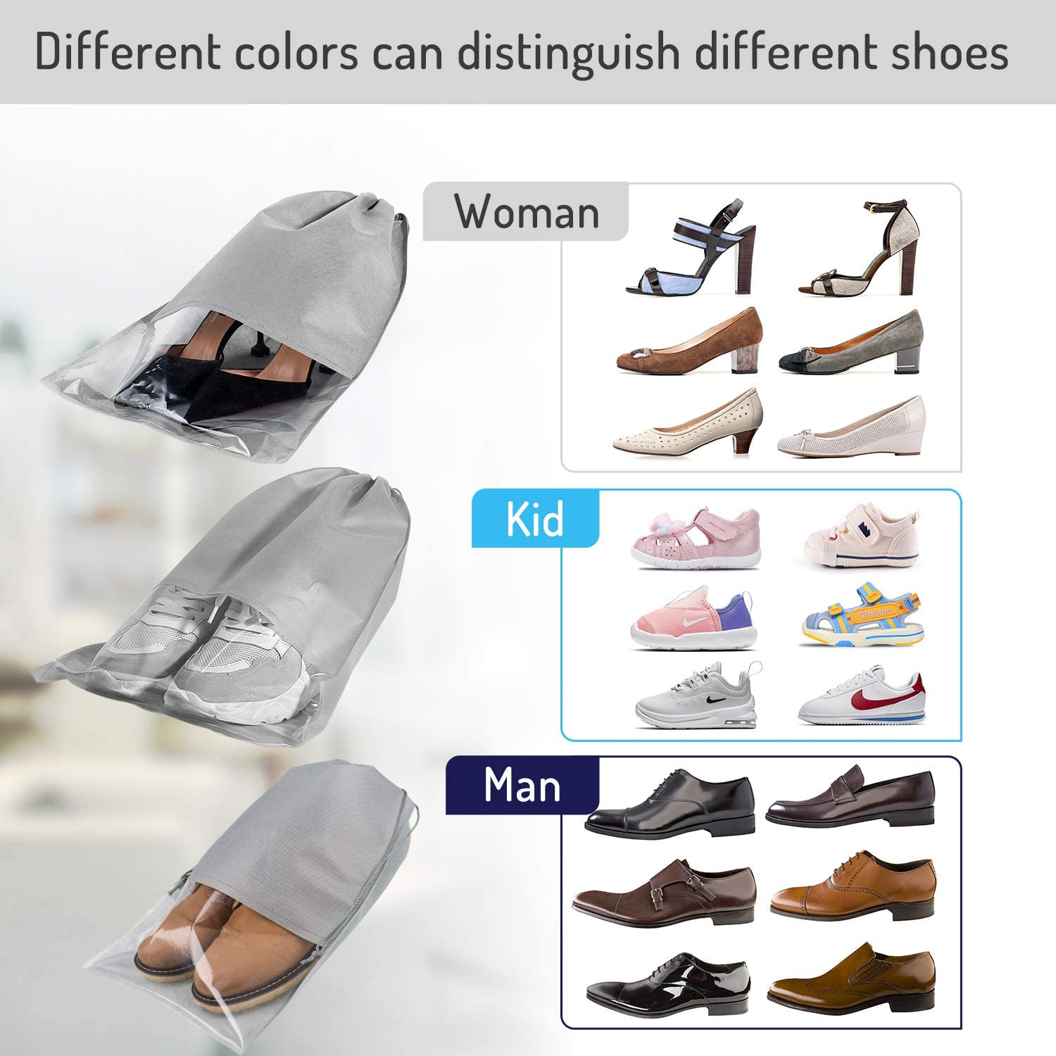 Light Grey Large Non-Woven Drawstring Shoes Storage Bags with Transparent Slot for Men and Women Whaline 15 Pieces Travel Shoe Bag