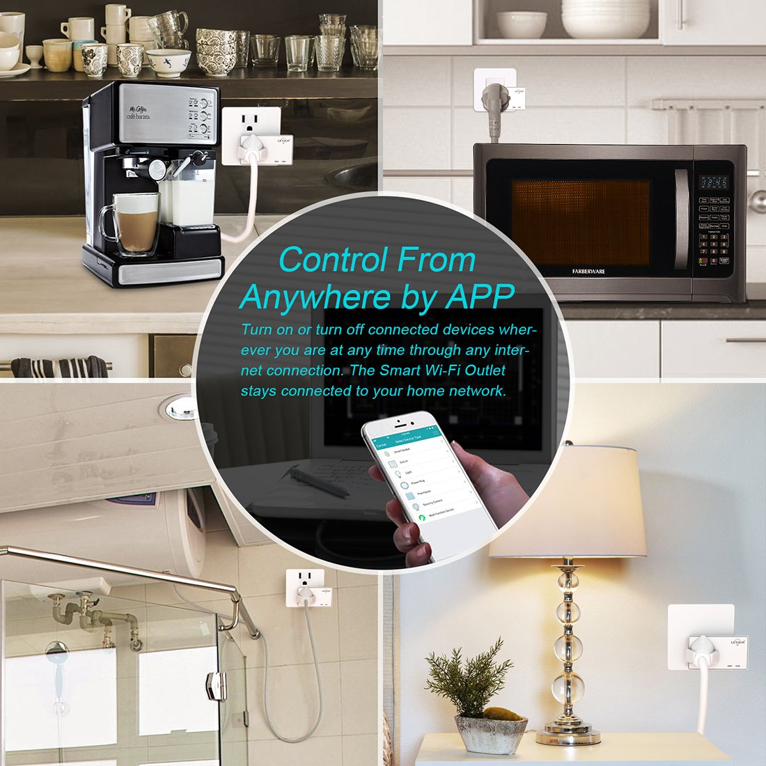 Outdoor Smart Outlet, Black Outdoor Outlet,Rainproof WiFi Smart Socket with 3 AC Outputs Outlet,Smart Home Socket Timing Function Works with  Alexa,Google Home /& IFTTT,ETL FCC ROSH Listed