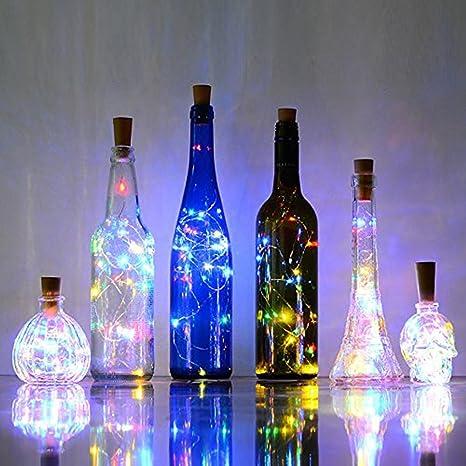 Aohro 6Pcs Vino Botella Cork Lights Corcho LED Botella Luz, para Botella DIY, Navidad, Decoración Festiva(Muti-Color): Amazon.es: Juguetes y juegos