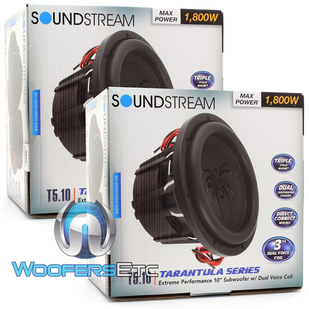Pair Of Soundstream T5104 10 1800w Rms Dual 4 Ohm T5 How To Wire Voice Coil Sub Series Subwoofers Car Electronics