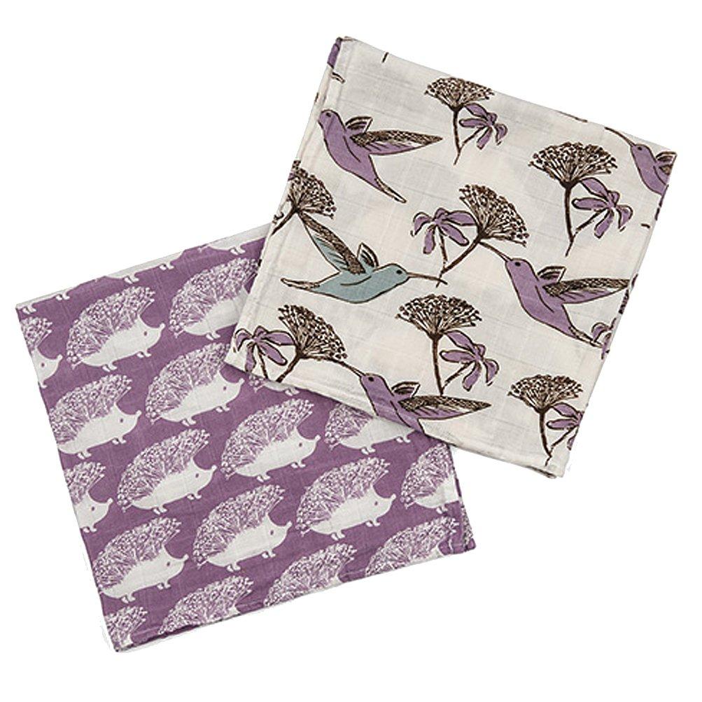 Milkbarn Organic Burp Cloths''Hummingbird/Lavender Hedgehog''