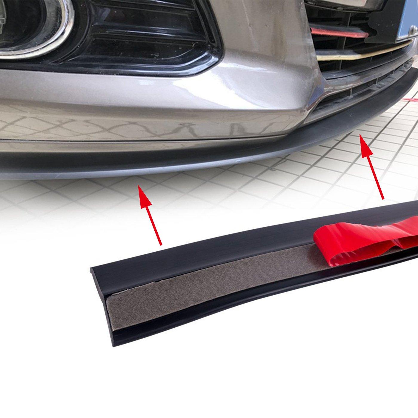 MODAUTO Front Car Aleron Protezione per Paraurti Universale Larghezza 60mm Paraurti Anteriore Modello F605BK-IT Lunghezza 2.5 m Adesivo Protettivo Nero