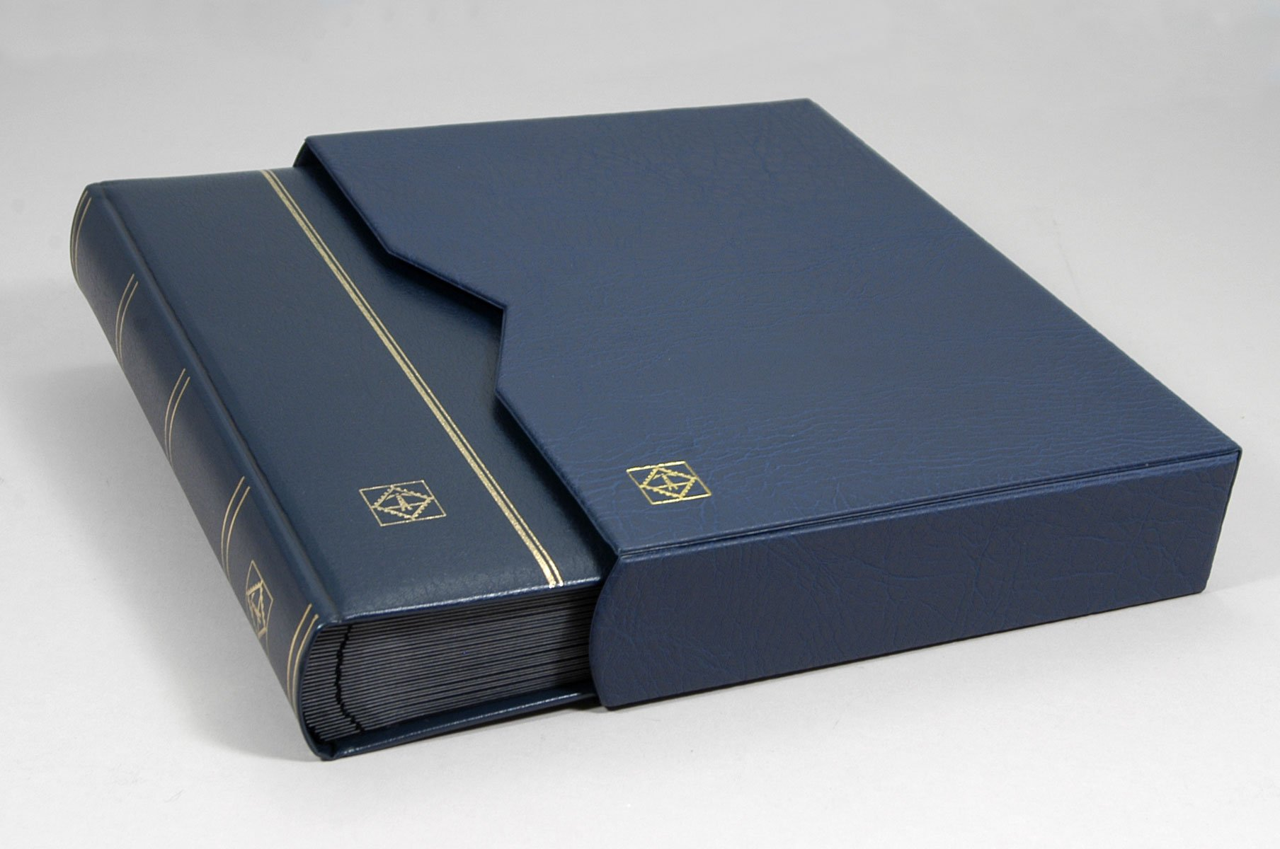 Lighthouse 64 Page Leather Stamp Stockbook with Matching Slipcase, Blue