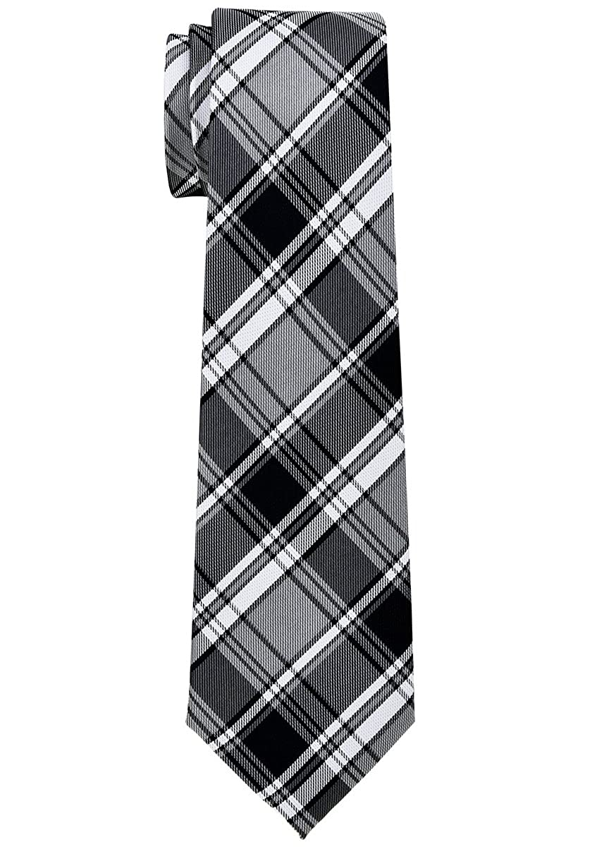 Retreez Retro Styles Tartan Plaid Woven Boy's Tie - 8-10 years - Various Colors Grey and Khaki RTZ-KDTIE-0121-BLEGRYKKI