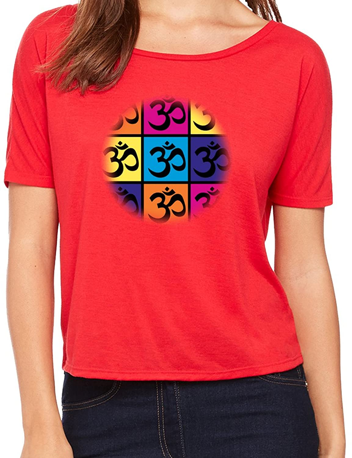 "Yoga Clothing For You Ladies ""Pop Art Om"" Open Back Shirt"