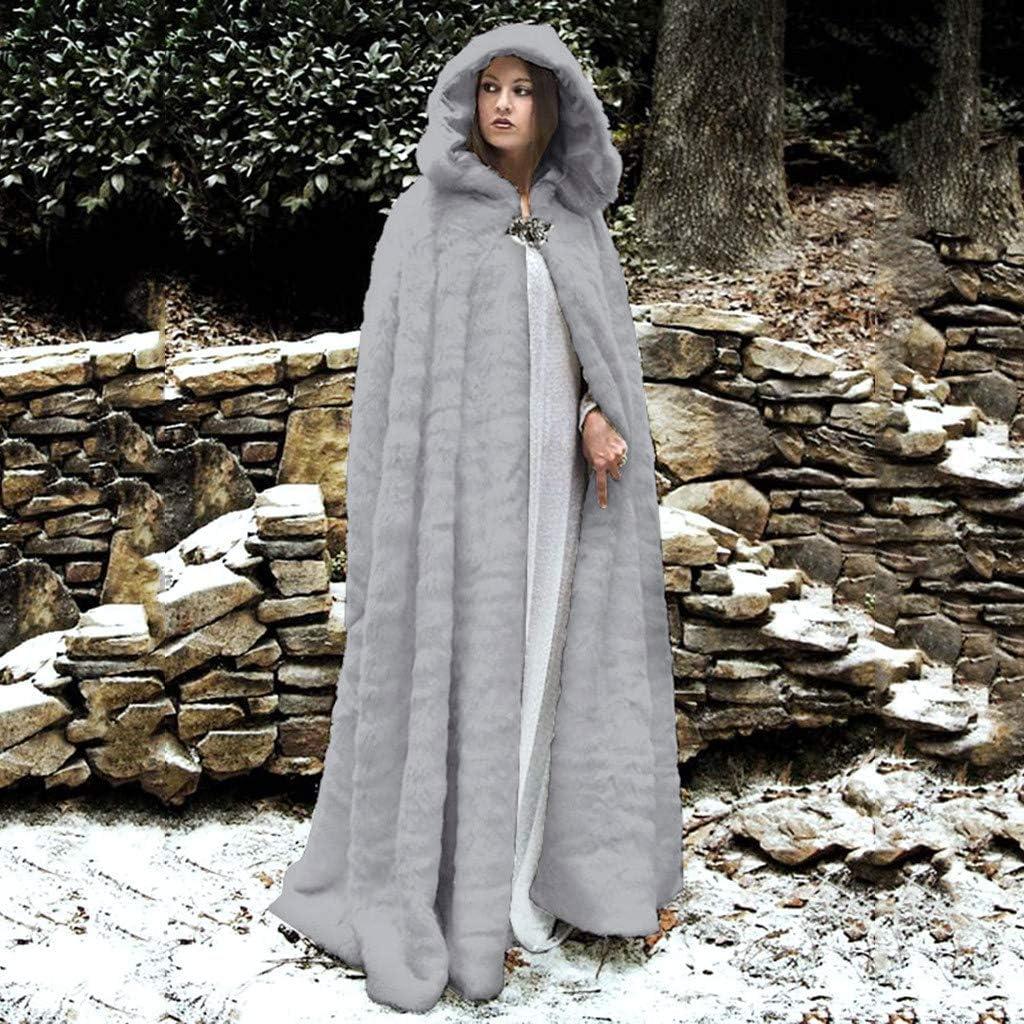Smonke Damen Herbst Winter Warme Pl/üsch Tops Nachahmung Faux Pelzmantel Splei/ßen Lange Jacke Langarm Mit Kapuze Mantel Mode L/ässig Bluse Frauen Outwear
