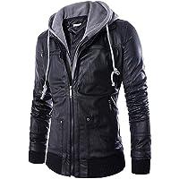 Pomo-Z Men's Faux Leather Hooded Jacket