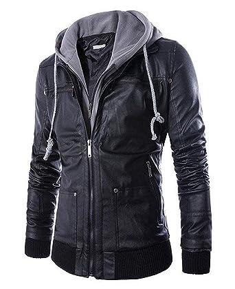 1c90828b0d4 Pomo-Z Men's Faux Leather Hooded Jacket