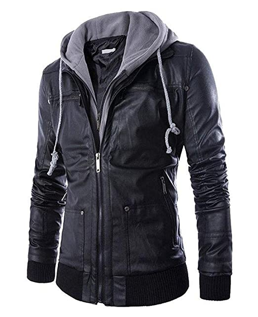 Buy Pomo Z Men S Faux Leather Hooded Jacket At Amazon In