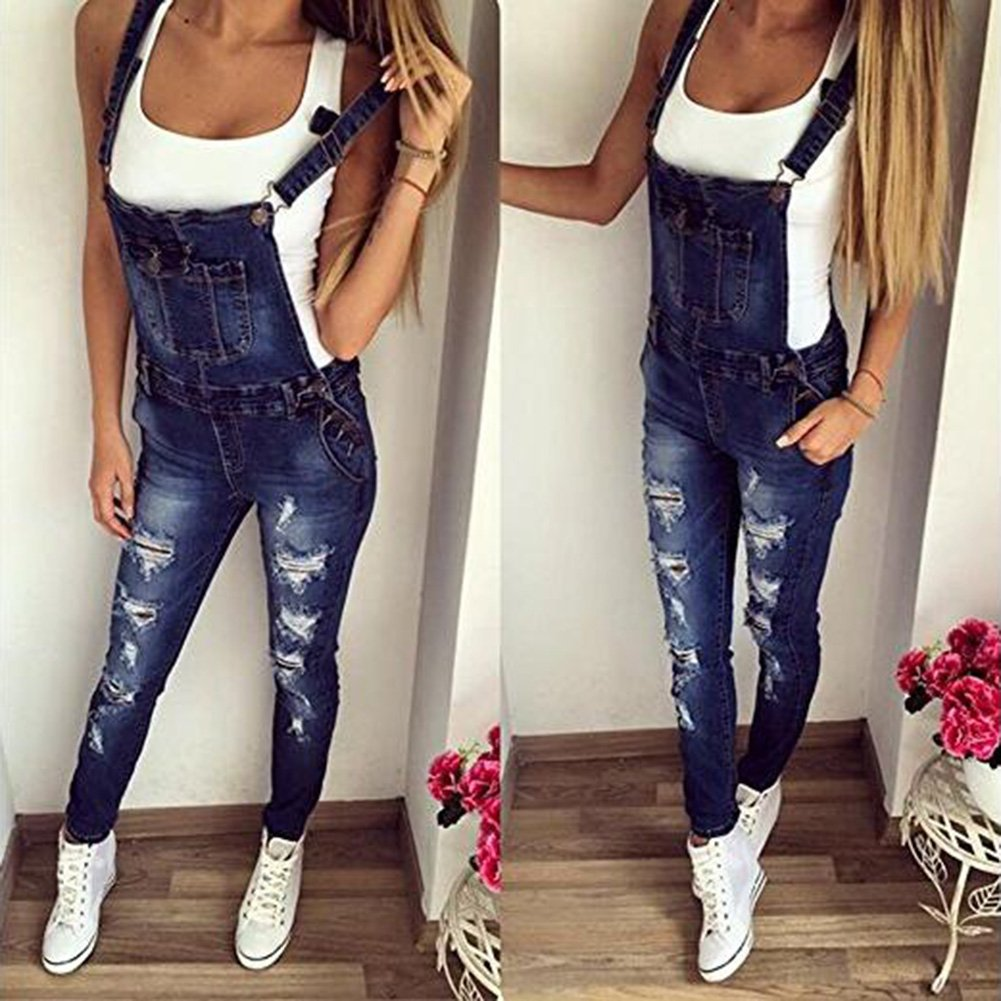 Juleya Women Denim Stretch Casual Sleeveless Overall Long Jumpsuit Playsuit Trousers Pants Dungarees