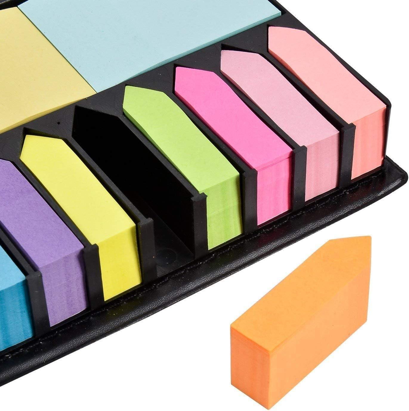 Gifts 4 All Occasions Limited SHATCHI-1290 SHATCHI Deluxe Sticky Memo Note organizer da scrivania con indice multicolore freccia bandierine autoadesive rimovibili segnalibro