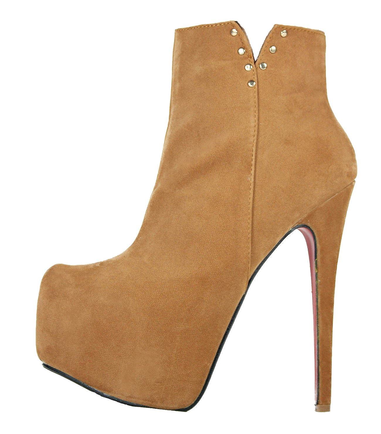 High Heels Stiefelette im Italy Design Plateau 16 cm Stiletto Absatz 10402