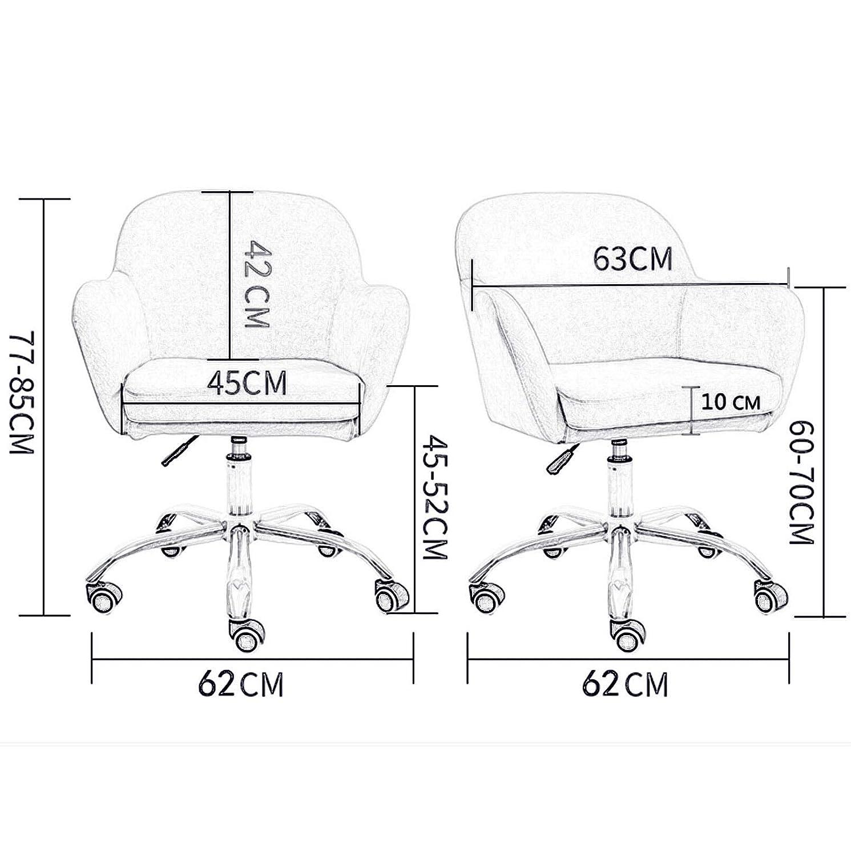 LIYANJJ Sammetsbarstolar i sammet, rullande svängbar datoruppgift stol med tjocka bekväma kuddar sittyta lyft förstärkt stålbas för mottagning matsal konferensrum #2