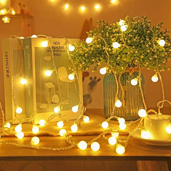 Koxly 49 Ft 100 LED Globe String Lights Decorative Light Strings Plug in Fairy Lights with Remote Control for Indoor and Outdoor Bedroom Christmas Party