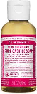 product image for Dr. Bronner's - Pure-Castile Liquid Soap (Rose) - Made with Organic Oils, 18-in-1 Uses: Face, Body, Hair, Laundry, Pets & Dishes, Concentrated, Vegan, Non-GMO (2 Fl Oz)