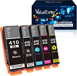 Valuetoner Remanufactured Ink Cartridge Replacement for Epson 410XL 410 XL T410XL to use with XP-7100 XP-530 XP-630 XP640 XP-830 XP635 (Black, Cyan, Magenta, Yellow, Photo Black with Newest Chipset)