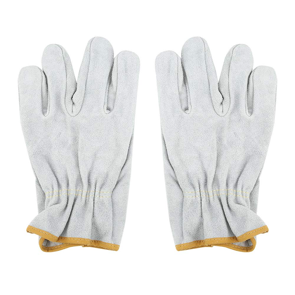 Protection Gloves,Welding Wear Resistant Gloves, Cow Leather Work Gloves,Soft and Comfortable, Sensitive Touch,for Driving, Welding, Handling